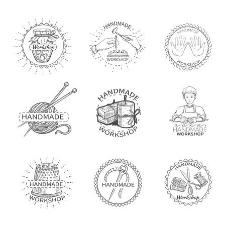 sew tags: Sketch handmade workshop premium quality needlework label set isolated vector illustration
