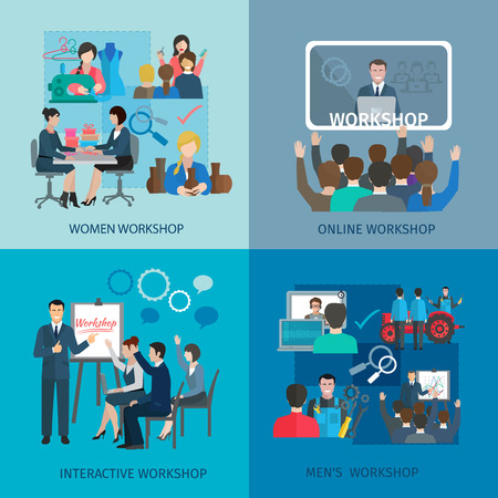 workshop seminar: Workshop design concept set with women men online interactive teamwork flat icons isolated vector illustration