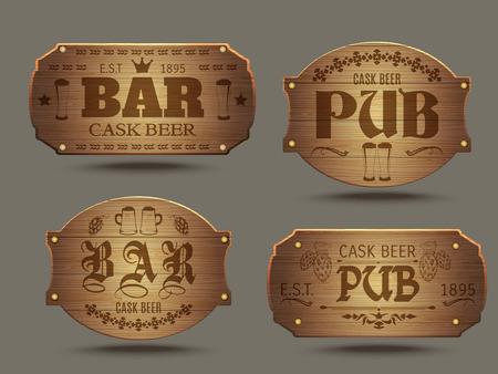 Pub houten ouderwetse borden instellen voor ambachtelijke gegoten ale bierproeven reclameposter abstract geïsoleerde vector illustratie Stock Illustratie