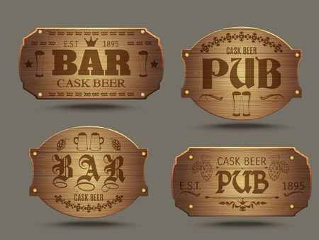 Pub wooden old-fashioned signs set for craft cast ale beer tasting advertisement poster abstract isolated vector illustration