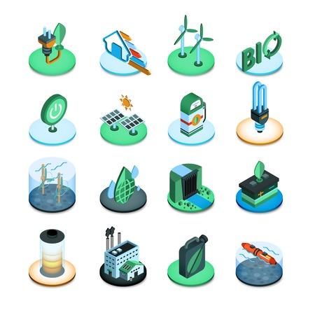 ecologic: Green energy ecologic power resources isometric icons set isolated vector illustration