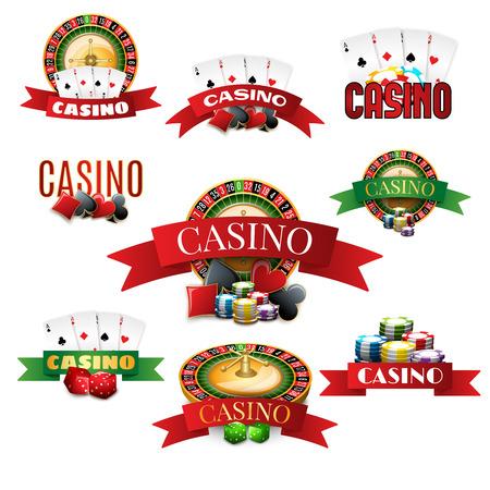 ruleta de casino: Casino con chips de tarjetas de ruleta y dados emblemas establecer realista sombra aislada ilustración vectorial