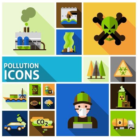 bomba de agua: Contaminación y medio ambiente de daños tóxicos iconos decorativos planas establecen aislado ilustración vectorial