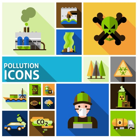 petrol pump: Pollution and environment toxic damage flat decorative icons set isolated vector illustration