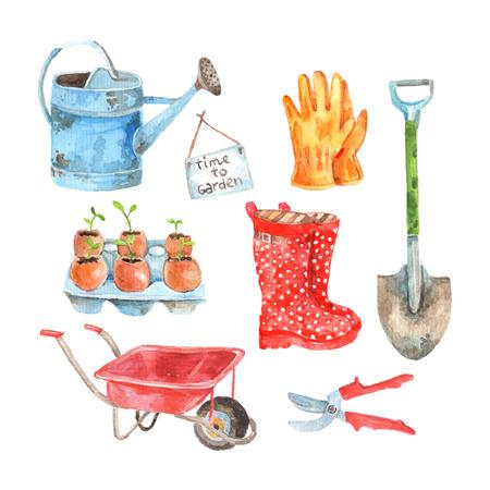 Tijd om te tuinieren aquarel pictogrammen samenstelling van het water geven pot en zaailingen te abstract vector geïsoleerde illustratie planten Vector Illustratie