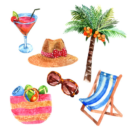 chaise longue: Tropical island  vacation  travel  watercolor icons set with coconut palm and  straw sunhat abstract vector isolated illustration Illustration