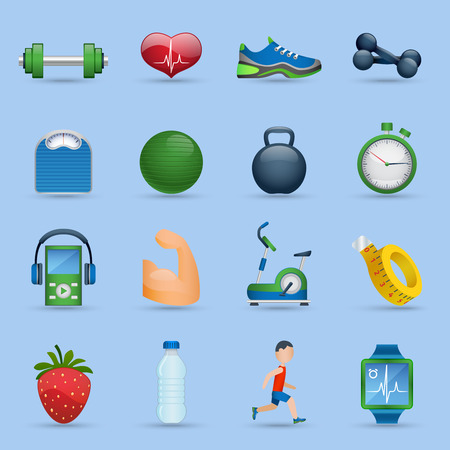 good health: Fitness sports and good health cartoon icons set shadow on blue background isolated vector illustration