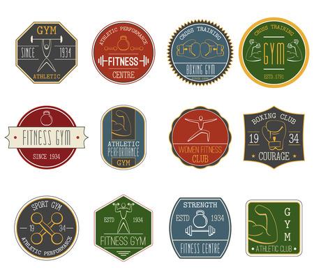 established: Fitness and sports athletic performance vintage labels set flat isolated vector illustration
