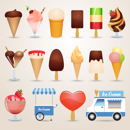 Ice cream various kinds chocolate caramel and fruit cartoon icons set shadow isolated vector illustration Vector