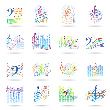 tracks live: Music notes bass and treble clefs and staves shadow icons set isolated vector illustration