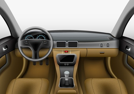 Realistic car interior with light chairs and grey dashboard vector illustration