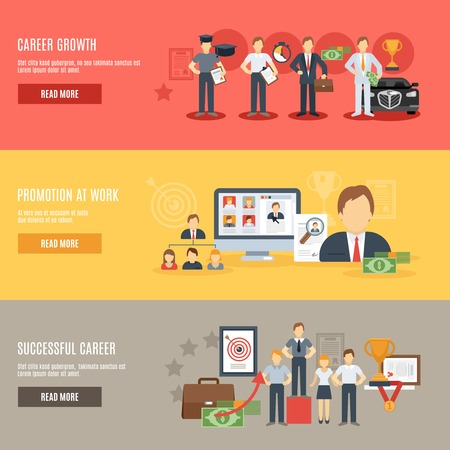 career: Career growth horizontal banner set with promotion at work flat elements isolated vector illustration