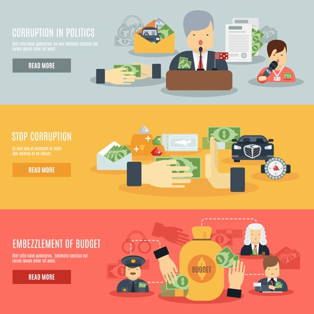 Corruption horizontal banner set with corrupt business and politics flat elements isolated vector illustration Illustration