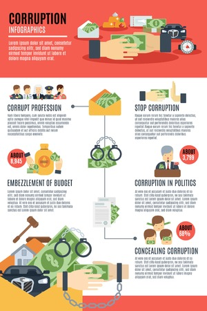 corrupted: Corruption infographics set with business government discrimination symbols vector illustration