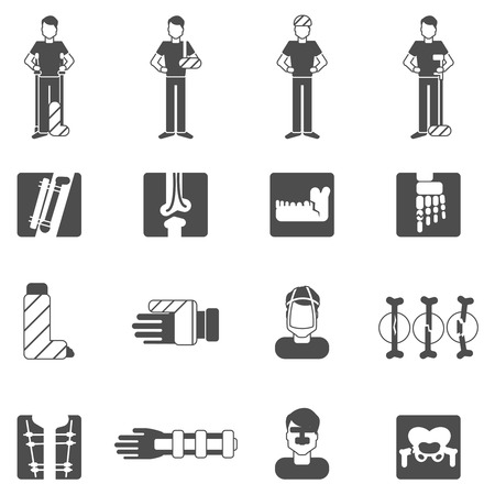 Fracture bone black icons set with human anatomy and healthcare symbols isolated vector illustration Vector
