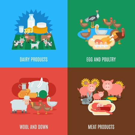 servicio domestico: De animales dom�sticos concepto de dise�o conjunto con productos c�rnicos l�cteos huevos de lana hacia abajo y las aves de corral iconos planos aislados ilustraci�n vectorial