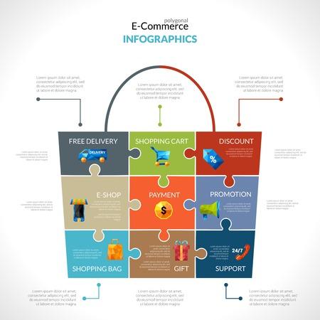 bank cart: E-commerce infographics set with online commerce symbols in shopping bag shape vector illustration Illustration