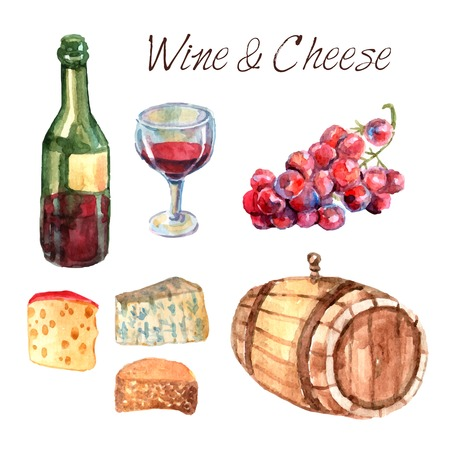 wine and cheese: Winery farm production watercolor pictograms collection for restaurant wine consumption with cheese chasers sketch abstract vector illustration Illustration