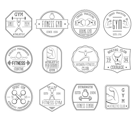 Fitness and sports athletic centre black white logo set flat isolated vector illustration