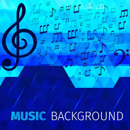 tracks live: Music abstract notes with bass and treble clefs on blue background vector illustration