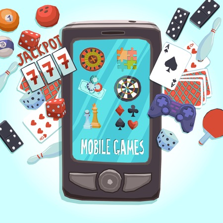 bet: Mobile phone games concept with casino bowling ping-pong dice domino joystick darts and puzzle vector illustration.