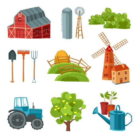 Farm decorative multicolored set with barn tractor windmill haystack silo tower tree bushes watering can spade rake pitchfork isolated vector illustration Illustration