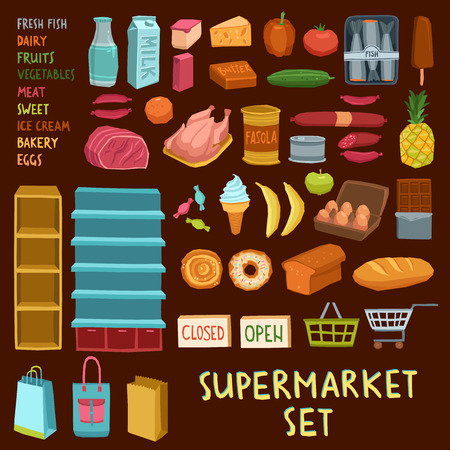 canned meat: Supermarket icon set with fish dairy meat bakery fruits vegetables ice cream shopping cart basket isolated vector illustration