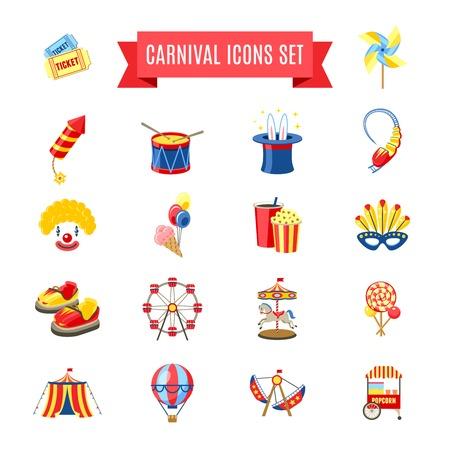 carnival: Carnaval fairgound y atracciones del parque iconos conjunto ilustración vectorial aislado