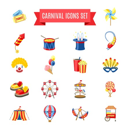 carnival: Carnival fairgound and attractions park icons set isolated vector illustration