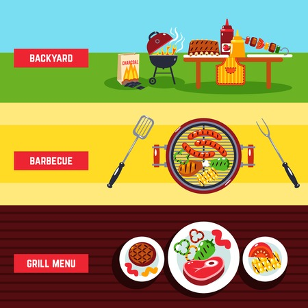 coal fish: Barbecue horizontal banner set with backyard and grill menu elements isolated vector illustration