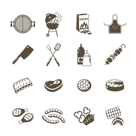 Barbecue grill and outdoor summer picnic utensil icons black set isolated vector illustration