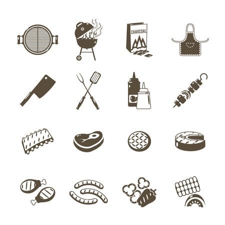 chorizos asados: Parrilla y verano al aire libre de iconos utensilio de picnic negro conjunto aislado ilustraci�n vectorial