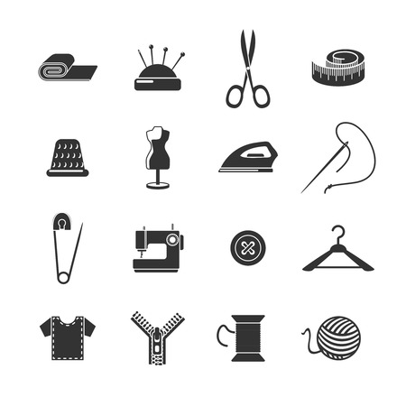 tailoring: Sewing dressmaking and tailoring icon black set isolated vector illustration Illustration