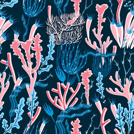 deep sea: Colorful deep sea coral and seaweed seamless pattern flat vector illustration