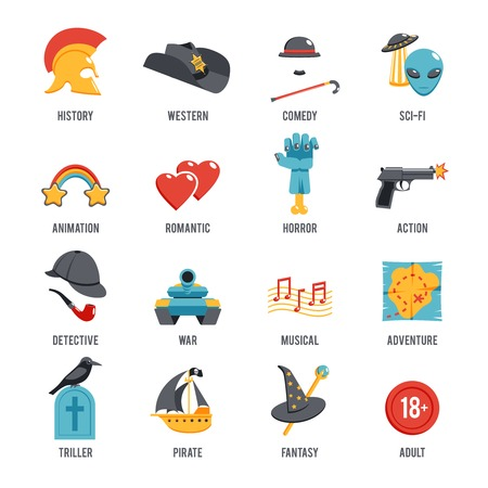 comedy: Film genres icon set with drama adventure detective pirate isolated vector illustration