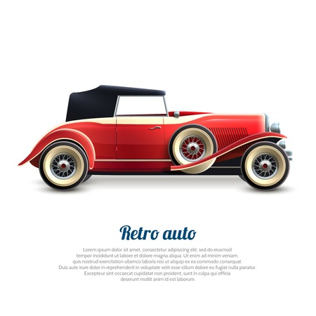 cabriolet: Retro auto red classic cabriolet car profile poster vector illustration Illustration