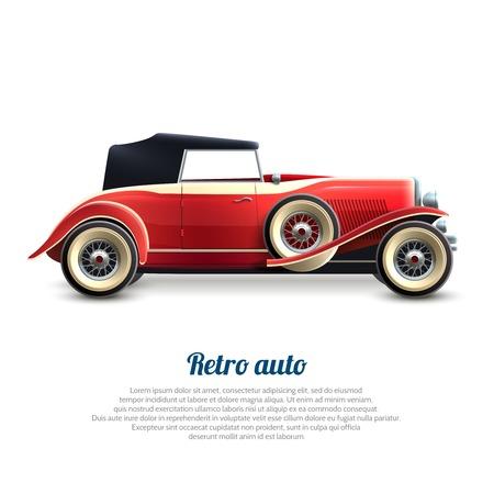 classic cars: Retro auto red classic cabriolet car profile poster vector illustration Illustration