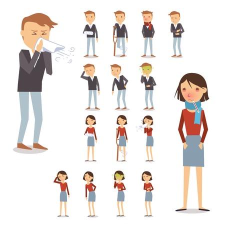 Kranke Menschen Zeichen mit Männern und Frauen Husten weht Niesen isolierten Vektor-Illustration festgelegt
