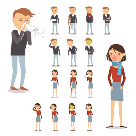 persona enferma: Las personas enfermas personajes creados con hombres y mujeres toser soplado estornudos aislados ilustraci�n vectorial