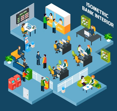 Bank interior isometric with 3d office and business people vector illustration