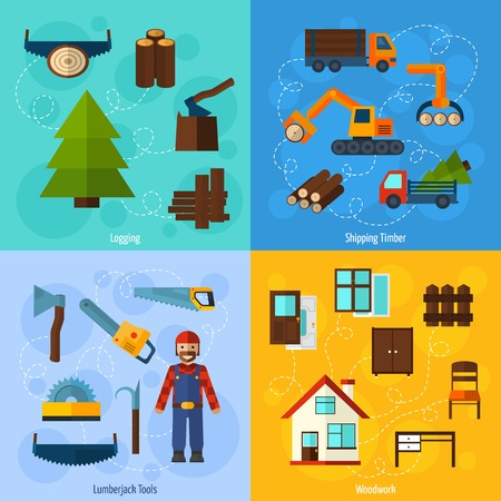 Woodworking industry design concept set with lumberjack logging and timber shipping flat icons isolated vector illustration Vector