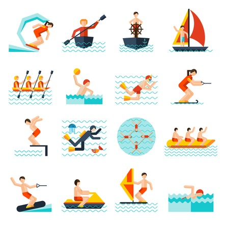 actividad: Deportes acuáticos iconos planos establecen con aislados canoa vela cometa ilustración vectorial