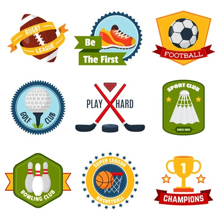 badminton: Sports logo set with rugby golf bowling equipment isolated vector illustration