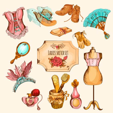 hat: Sketch colored ladies retro style accessories decorative set isolated vector illustration Illustration
