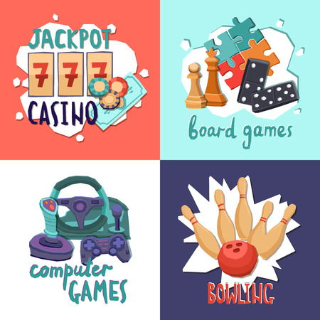 Game design concept with casino computer board games and bowling isolated vector illustration Vector
