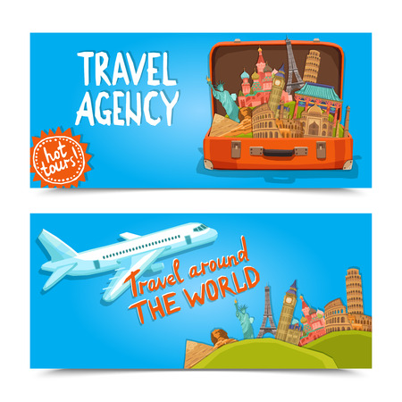 agencia de viajes: Alrededor de los banners horizontales de agencia de viajes mundial establecidos con la maleta de sightseeings famosos aislado ilustraci�n vectorial