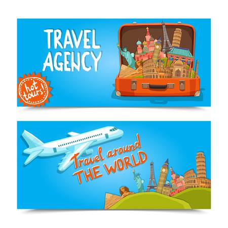 agence de voyage: Autour des bannières horizontales de l'agence de Voyage du monde établi avec une valise de sites célèbres isolé illustration vectorielle
