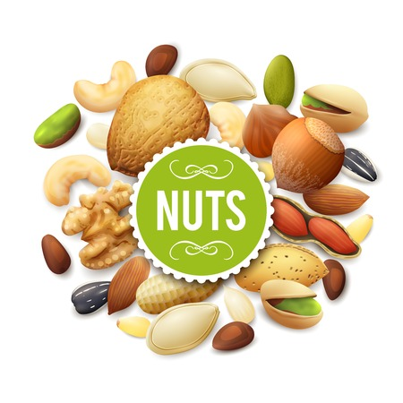 frutos secos: Colección de la tuerca con la mezcla de alimentos crudos y la etiqueta de papel ilustración vectorial Vectores