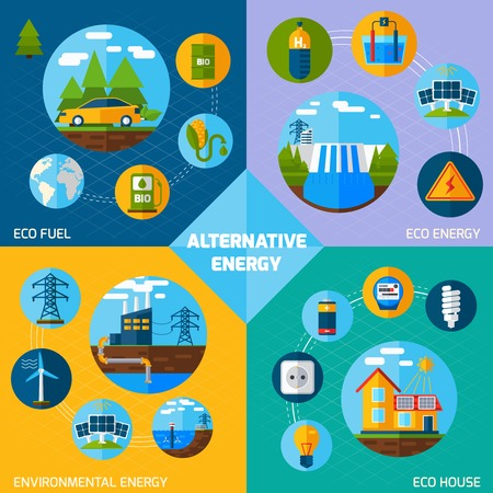 alternative energy: Alternative energy design concept set with eco fuel and house flat icons isolated vector illustration