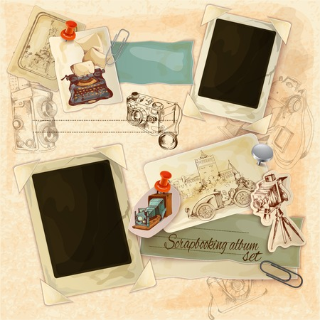 photo equipment: Retro scrapbooking set with vintage postcards and photo frames vector illustration Illustration